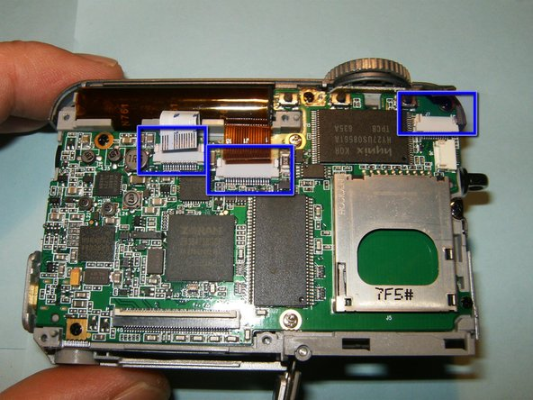 Image 1/3: Remove the screws that hold the logic board, as well as the two long ones that attached the front case.