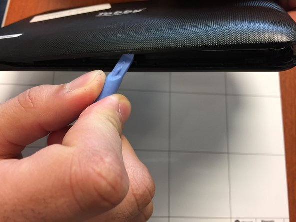 Image 2/3: Be careful when you do this. You should not use excessive force as there are wires connecting the speaker in the back of the tablet and the front side of the tablet.