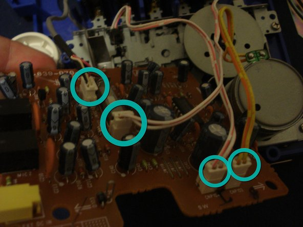Then unplug four sockets attached to the circuit board