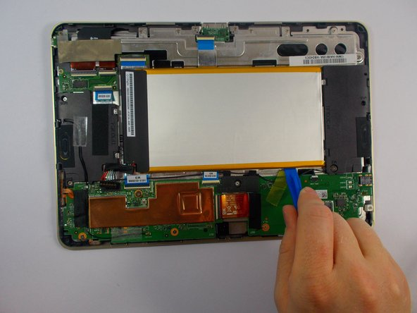 Use plastic opening tool to carefully pry the battery out from frame.