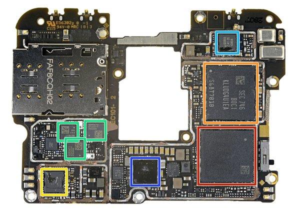Samsung K3UH7H70MM-AGCJ 8 GB LPDDR4X DRAM (layered over Qualcomm Snapdragon 845)