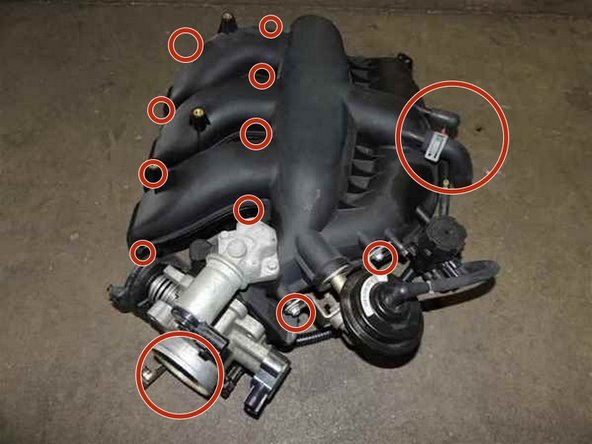 Start removing all the mark parts in red circles. (upper bolts from the intake manifold,hoses,vacuum hoses,filter tube,etc)