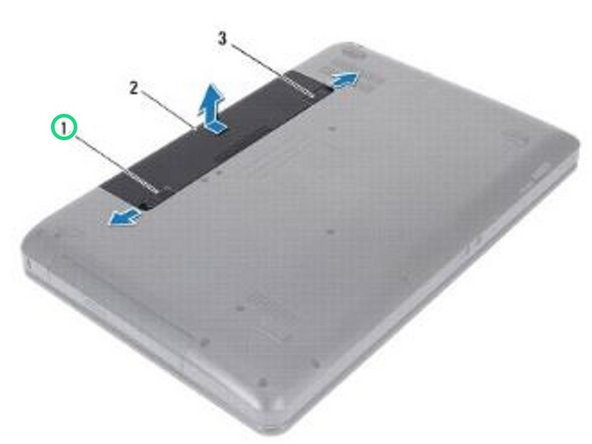 Slide the battery release latch to the side.
