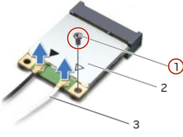 Remove the screw that secures the wireless mini-card to the system board.