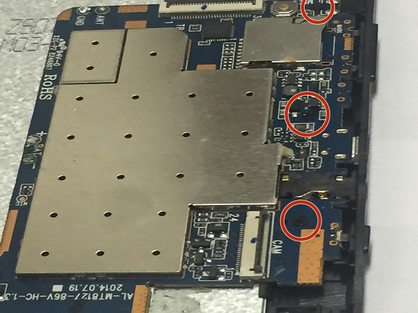 Locate the three 4mm screws that attach the motherboard to the device.