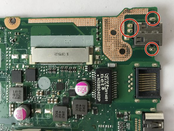 Solder the four connections to the charging port on the motherboard.