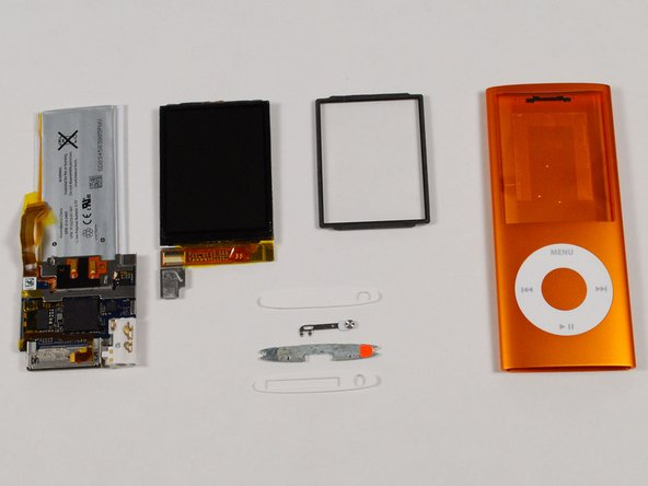 Image 1/1: All the parts. The main board is incredibly small, especially considering all the features packed into this iPod.