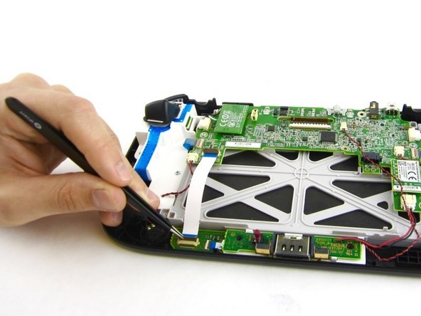 Remove the white flex cable with the tweezers.