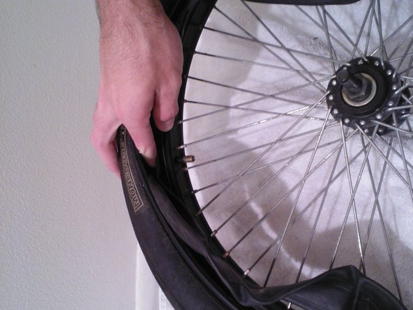 To put the new tube in the tire, begin by wedging the tube in between the tire and the rim. Make sure that you start with pushing the nozzle through the hole in the rim as shown. Then, continue to push the rest of the tube through the gap between the tire and the rim until the tube is no longer visible.