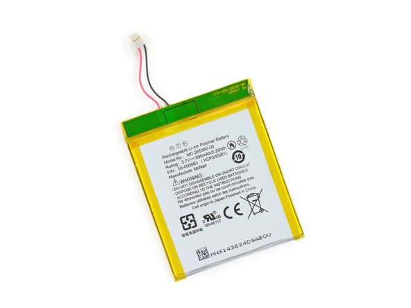 The Lithium-ion Polymer battery in the Kindle 7th Generation is rated at 3.7 V and 890 mAh. That works out to 3.29 Wh of energy.