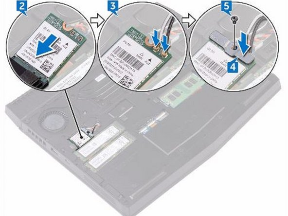 Align the screw hole on the wireless-card bracket with the screw hole on the wireless card and the computer base.