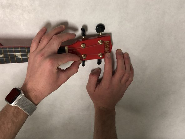 Place the ukulele string in between your index finger and thumb.