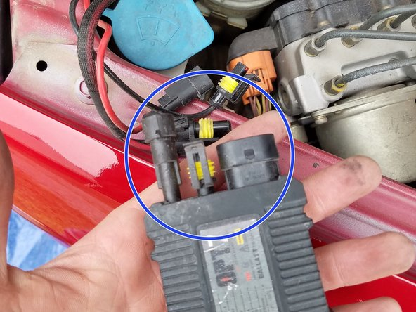 Image 2/2: If you have LEDs installed, then there is a ballast connected to the wire harness which has three wires that must be disconnected.  Wires on the ballast are held in by clips that simply pull apart.