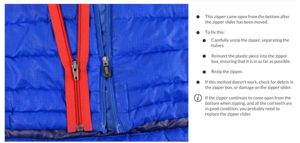 Broken zipper repair guides