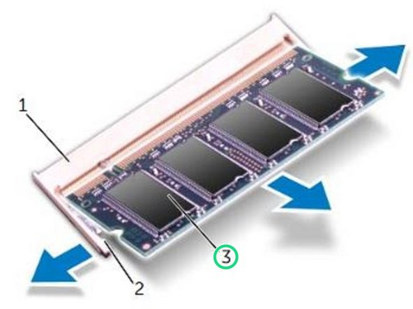 Slide the memory module firmly into  the slot at a 45-degree angle, and  press the memory module down until it clicks into place. If you do not hear  the click, remove the memory  module and reinstall it.