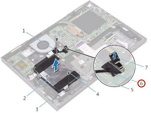 Connect the hard-drive cable to the system board.