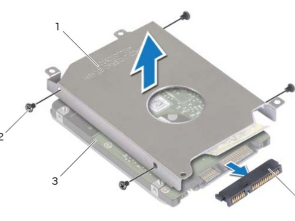 Lift the latch and disconnect the hard-drive cable from the system board.