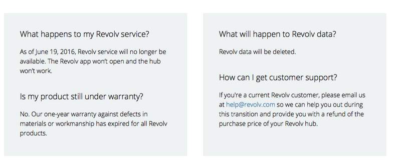 Revolv's website gives owners a rundown of what happens to their devices when Next pulls the plug.