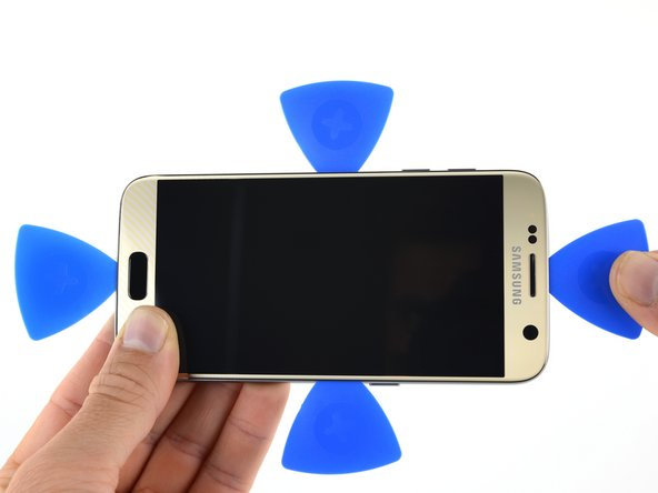 Don't cut too deep on the top or bottom, or you may damage the front-facing sensors or speaker assembly on the top, or capacitive buttons on the bottom.