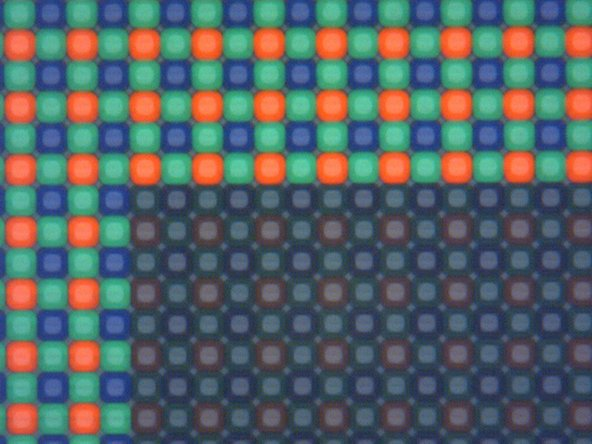 Image 2/3: The second image shows that these pixels are well-spaced, demonstrating why [http://spectrum.ieee.org/geek-life/tools-toys/pixels-size-matters/0|not all pixels are created equal]. The large size and ample gaps between pixels allows room for metal signal lines to move each pixel's data without blocking light to the individual photocathode sensors.