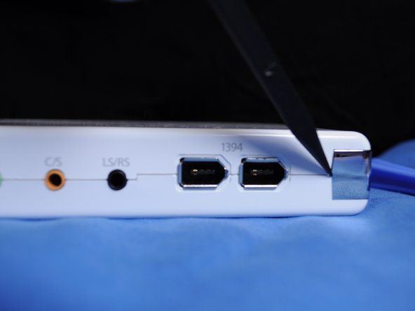 The best place to start is the right side, where the fire wire ports are located.