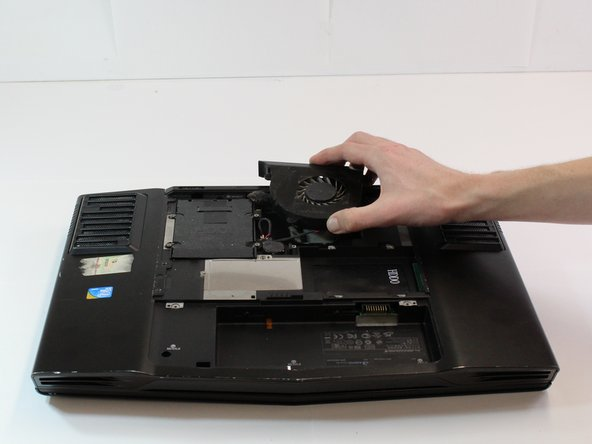 Use your hand to gently lift the fan from the laptop.