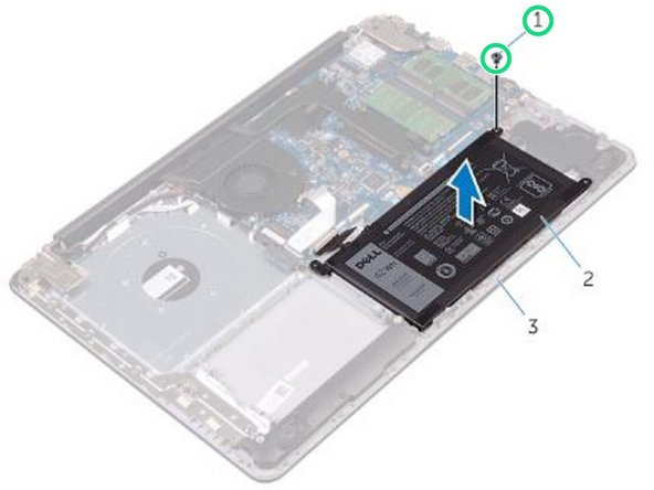 Replace the screw that secures the battery to the palm rest and keyboard assembly.