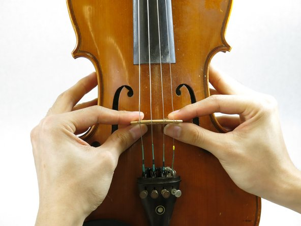 Place the new bridge between the center of the f-holes of your violin.
