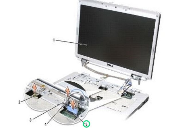Lift the display cable and antenna cables from beneath the tabs on the palm rest.