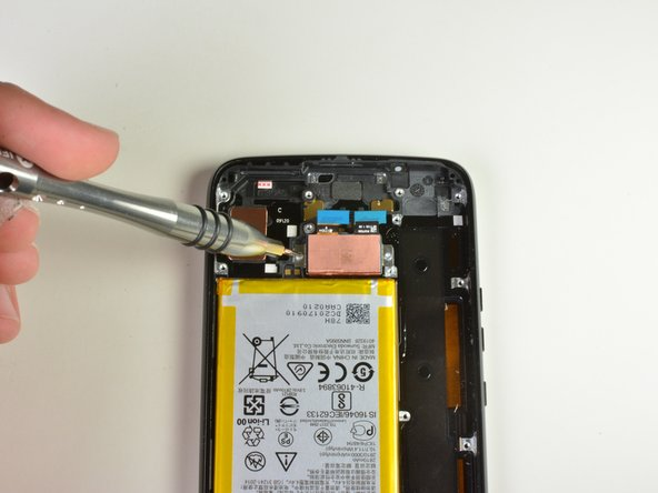 Using a T3 Torx screwdriver,  remove both  1cm  screws. To do this, insert the screwdriver into the head of the screw, then turn counter-clockwise.