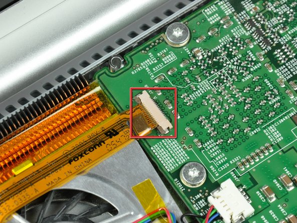Image 1/2: The ZIF cable lock will move about 1 mm and stop. '''Do not''' attempt to completely remove the ZIF cable lock.