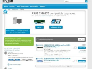How to Upgrade RAM Memory On Your ASUS CM6870 Desktop PC and Run BIOS Upgrade