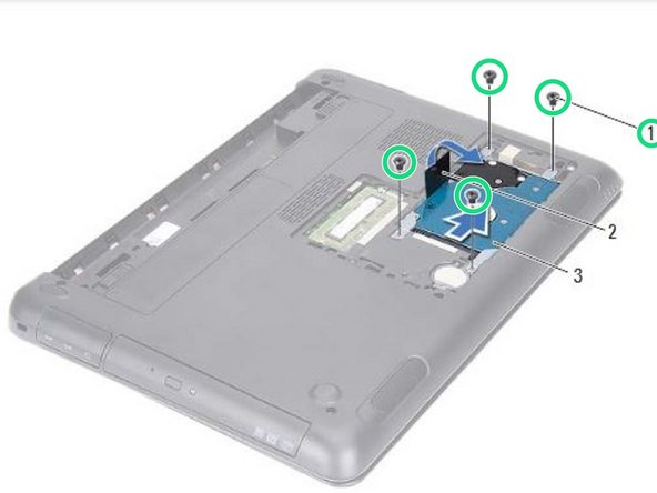 Replace the four screws that secure the hard-drive assembly to the computer base.