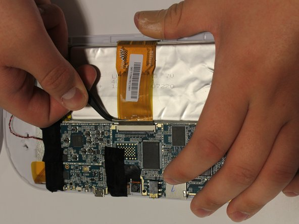 Flip up the retaining tab (the black bar on the connector), then pull LCD connector with tweezers. Be careful not to damage the LCD connector.