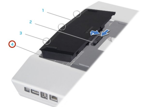 Slide the NEW battery pack into the battery bay until the battery pack clicks into   place.