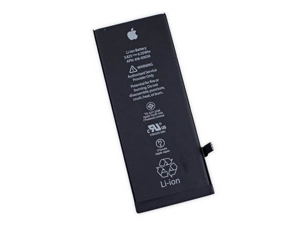 Image 1/2: The Lithium-ion pack comes in at 3.8 V, 6.55 Whr, and 1715 mAh. It's a small but notable decrease from the [https://www.ifixit.com/Teardown/iPhone+6+Teardown/29213#s69246|1810 mAh|new_window=true] battery in last year's iPhone 6.