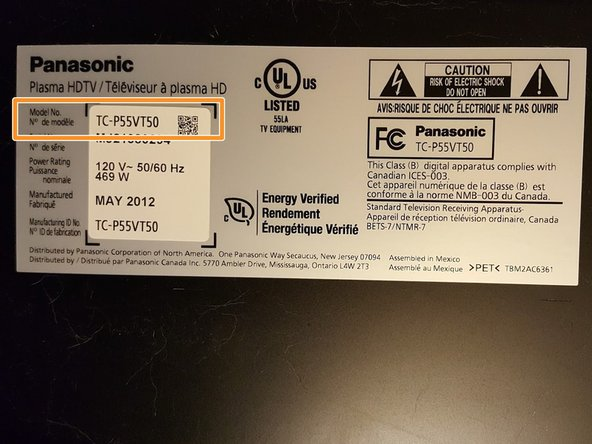 The model number of your TV is located on the back panel.